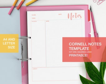 Cornell notes template - printable student notes - student help - dot grid, square, lines - studyblr - A4 and LETTER size