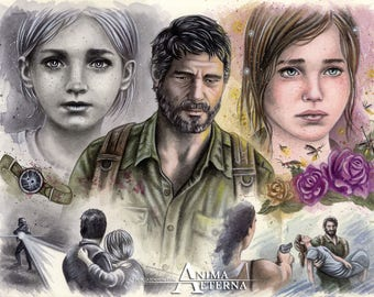 """Baby Girl - The Last Of Us Traditional Art Watercolor Painting - Photo Print  25,5 x 38 cm (10"""" x 15"""" approx.) - Hand Signed"""