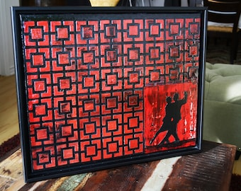 Tango - A textured painting using acrylic and depicting the art of tango dance