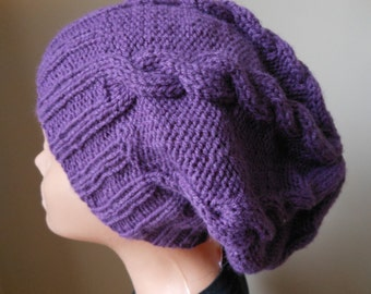 Hand Knit Slouchy Beanie Hat Acrylic Purple Plum