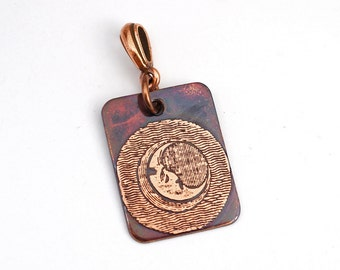 Woodcut moon pendant, small flat rectangular etched copper jewelry, optional necklace, 25mm