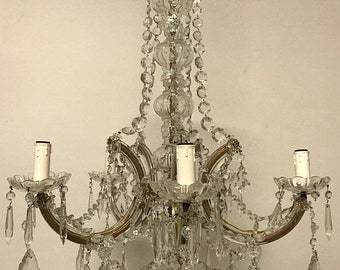 Sale Murano Chandelier, Crystal Chandelier, Vintage Chandelier, Maria Theresa Italian Chandelier, Wiring Comp USA, Free Shipping USA