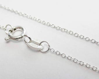 """20"""" Solid 925 Sterling Silver 1 x 1.9mm Oval Cable Delicate Chain Necklace Spring Clasp Shiny Jewelry Making Wholesale Supplies Italy Bulk"""
