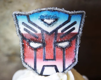 12 EDIBLE Transformers-Autobot-Optimus Prime-party cupcake toppers-decorations