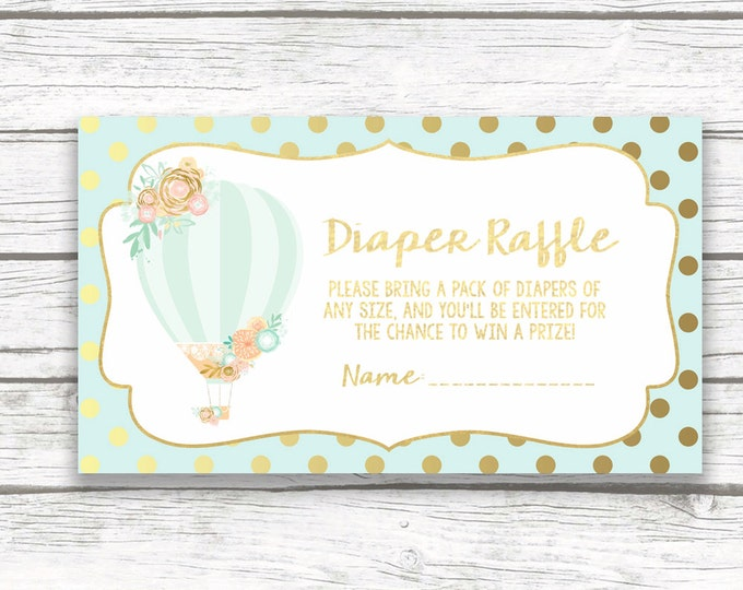 Hot Air Balloon Baby Shower Diaper Raffle Ticket Invitation Insert, Floral French Parisian Chic, Gold Mint and Peach, Baby Girl Shower