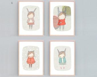 Nursery Wall Art Set, Girls Room, Girls Nursery Prints, Rabbits, Kitty Cat, Set of 4 prints, Baby Shower Gift, Set of 4 Nursery Art