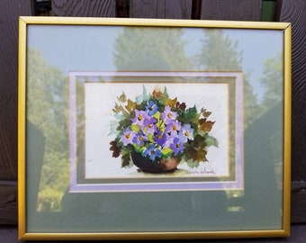 Framed and matted original floral artwork