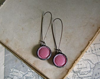 Pink  Glass Button  Earrings  Repurposed Jewelry
