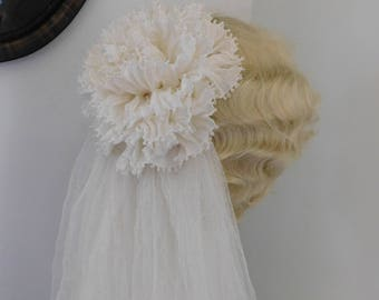 Wedding Veil Ruffled Rose Crinkled Tulle