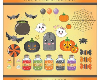 Kawaii Halloween clipart, digital scrapbook elements - 31 Clip art, Instant Download