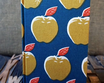 Fabric Covered Journal - Large Blank with Apple Theme