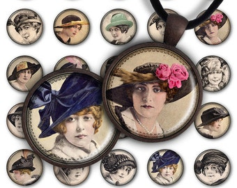 75% OFF SALE Digital Collage Sheet Women's Vintage Hats 1inch Round 30mm 25mm Circle Pendant Printable Download PC035 Jewelry Making