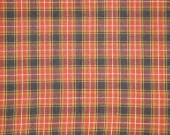 Orange Plaid Material | Cotton Homespun Material | Rustic Material | Fall Material | Rag Quilt Material | Primitive Sewing Material