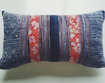 Floral Hmong Throw Pillow Cover - Vintage Batik Boho Pillow - Eclectic Decor