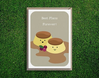 Greeting Cards   Best Flans Card, BFF, Friends, Thinking of you, Cute & Quirky, Silly, Creme Caramel Flan, Fun, Card