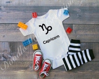 capricorn zodiac sign baby bodysuit, birthday gift for Capricorn, capricorn gift, baby shower gift for mom, celestial gift, new baby gift