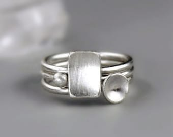 Silver Stacking Rings with Geometric Shapes, Stackable Rings in Recycled Sterling