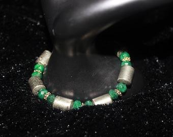Beaded Green & Gold Bracelet