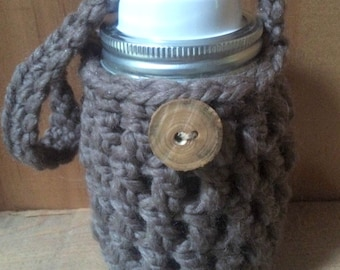 Crochet Pattern Mason Jar Cozy Jacket Drink Cover with handle THE HAVERHILL