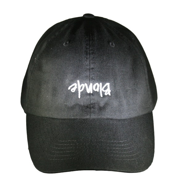 Blonde (upside down) New Style - Ball Cap (Black with White Stitching)