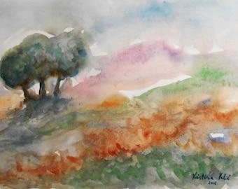 Modern Landscape Painting,  Watercolor Landscape Painting,  Wall Decor, Watercolor Landscape