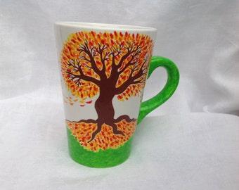 Handpainted ceramic mug with Autumn trees