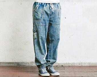 Vintage Acid Wash Jeans . Mens Vintage 80 Light Wash Blue Oldschool Jeans Pants Dad Jeans Boyfriend Jeans . size Medium M