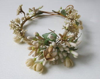 VINTAGE BRIDAL CROWN - French dropped wax bridal tiara  from the turn of the century