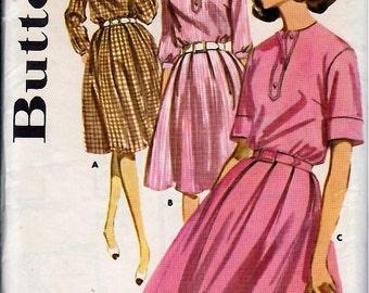 Bust 36-1960's Misses' Full Skirted Shirtdress  Butterick 2668  Size 16