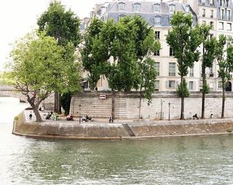 Paris Photography - French Decor - River Seine Print - Green Tree Photograph - Parisian Landscape - Paris Wall Art - Romantic Photo