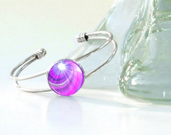 "Violet Bracelet, Reiki Energy Attuned Silver Wire Cuff, Purple Swirl Jewelry ""Intuition"""