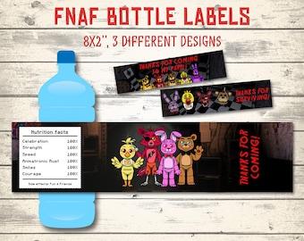 FNAF bottle labels, Five Nights at Freddy's bottle labels, FNAF bottles! 3  different