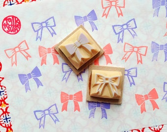 ribbon rubber stamp | bow tie stamp | diy wedding birthday baby shower card making | gift wrapping | hand carved by talktothesun | mounted