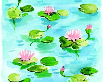 Water Lillies Print Of Gouache Illustration