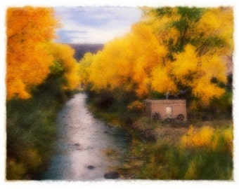 CREEKSIDE, Original, Signed Polaroid Transfer Composite matted to 8x10 (other sizes available)