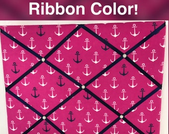 Hot Pink Anchor French Memo Board Pink Nautical Memo Board Hot Pink Memo Board Navy Memo Board Choose your ribbon color!