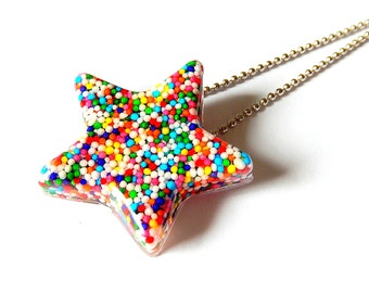 Sprinkles Star Necklace, Resin Pendant Necklace, Large Candy Star