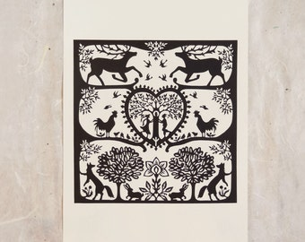 Stags and Swifts Cut Paper Fine Art Print