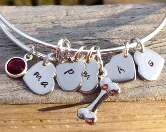 Personalized Dog Mom Heart Bracelet, Adjustable Dog Lover Bangle