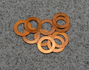"""1"""" Copper Washer 24 Gauge 1""""OD/15.5mmID Pack of 10"""