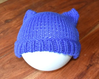 Cat Ears Hat (Adult hat, cosy hat, knitted baby hat. hand knitted hat , beanie, toddler hat, kids hat, baby gift, chunky knit hat)