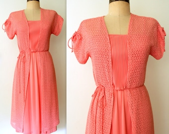70s Dress / Peach Crochet Dress / 2 pc Dress Set / PEACHY KEEN