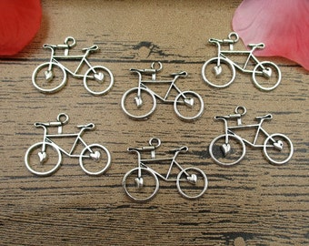 12 Bicycle Charms,Antique Silver Tone,Double Sided-RS139