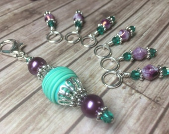 Stitch Marker Set With Matching Stitch Marker Holder- Snag Free Knitting Jewelry- Gift for Knitters- Purple & Teal