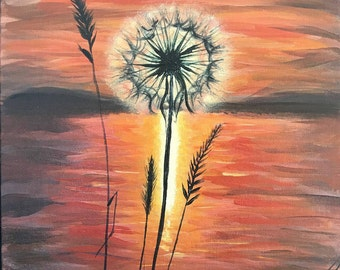 Dandelion at Sunset - 11x14 - Canvas Board, Acrylic Painting