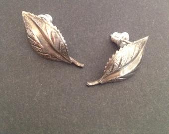 Vintage Sterling Silver Leaf Earrings