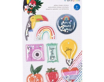 Shimelle Box of Crayons Glitter Shaker Stickers -- MSRP 5.00