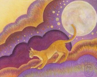 New cat art print, Crystaline, Fantasy cat