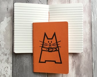 DISCONTINUED Small lined notebook in orange featuring Dave the cat - hand-printed, hand-stitched