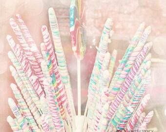 Sucette Bonbon photographie, décoration de Candyland, Photo de carnaval, chambre fille, Nursery décor imprimé, Art Candy, Rose Art mural, des sucettes